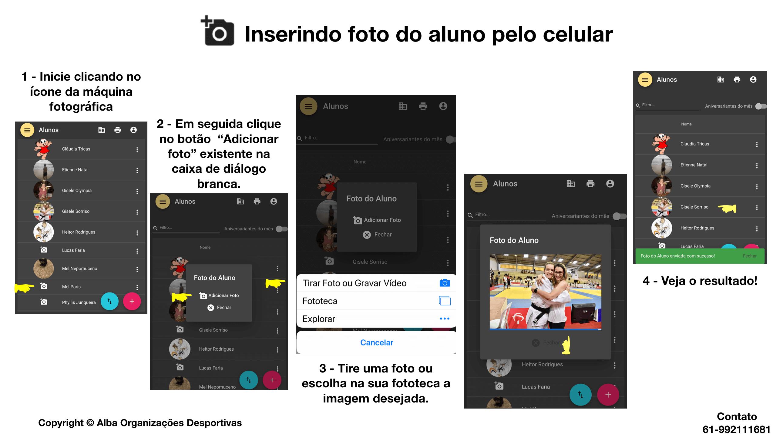 Inserção de fotos de alunos pelo celular.